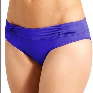 Athleta Shirred Band Bikini Bottom Blue S